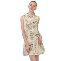 Seamless Pattern Hand Drawn Cats With Hipster Accessories Sleeveless Shirt Dress