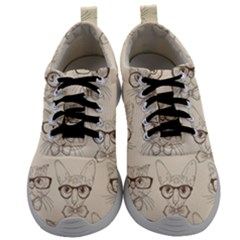Seamless Pattern Hand Drawn Cats With Hipster Accessories Mens Athletic Shoes by Vaneshart