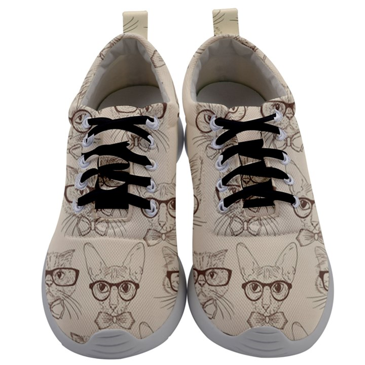 Seamless Pattern Hand Drawn Cats With Hipster Accessories Mens Athletic Shoes