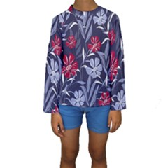 Abstract Seamless Pattern With Colorful Tropical Leaves Flowers Purple Kids  Long Sleeve Swimwear
