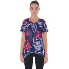 Abstract Seamless Pattern With Colorful Tropical Leaves Flowers Purple Cut Out Side Drop Tee