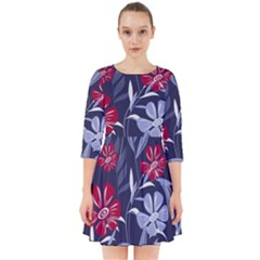 Abstract Seamless Pattern With Colorful Tropical Leaves Flowers Purple Smock Dress