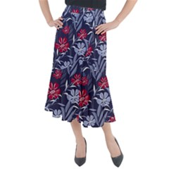 Abstract Seamless Pattern With Colorful Tropical Leaves Flowers Purple Midi Mermaid Skirt
