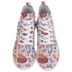 Cat Seamless Pattern Men s Lightweight High Top Sneakers