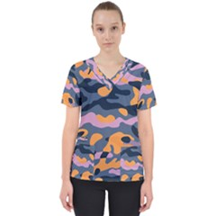 Camouflage Background Textile Uniform Seamless Pattern Women s V-neck Scrub Top