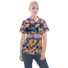 Camouflage Background Textile Uniform Seamless Pattern Women s Short Sleeve Pocket Shirt
