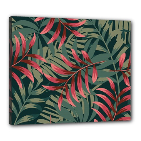 Trending Abstract Seamless Pattern With Colorful Tropical Leaves Plants Green Canvas 24  X 20  (stretched)