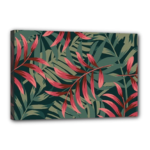 Trending Abstract Seamless Pattern With Colorful Tropical Leaves Plants Green Canvas 18  X 12  (stretched)