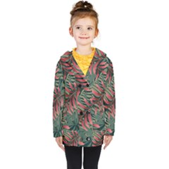 Trending Abstract Seamless Pattern With Colorful Tropical Leaves Plants Green Kids  Double Breasted Button Coat