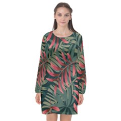 Trending Abstract Seamless Pattern With Colorful Tropical Leaves Plants Green Long Sleeve Chiffon Shift Dress