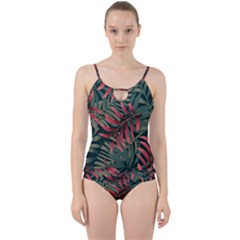 Trending Abstract Seamless Pattern With Colorful Tropical Leaves Plants Green Cut Out Top Tankini Set