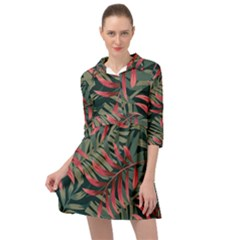 Trending Abstract Seamless Pattern With Colorful Tropical Leaves Plants Green Mini Skater Shirt Dress