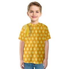 Abstract Honeycomb Background With Realistic Transparent Honey Drop Kids  Sport Mesh Tee