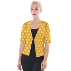 Abstract Honeycomb Background With Realistic Transparent Honey Drop Cropped Button Cardigan