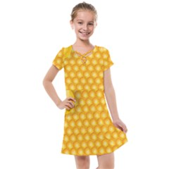 Abstract Honeycomb Background With Realistic Transparent Honey Drop Kids  Cross Web Dress