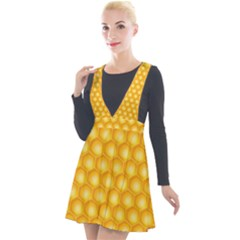 Abstract Honeycomb Background With Realistic Transparent Honey Drop Plunge Pinafore Velour Dress