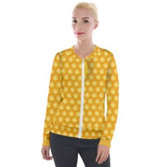 Abstract Honeycomb Background With Realistic Transparent Honey Drop Velour Zip Up Jacket by Vaneshart