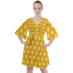 Abstract Honeycomb Background With Realistic Transparent Honey Drop Boho Button Up Dress