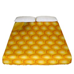 Abstract Honeycomb Background With Realistic Transparent Honey Drop Fitted Sheet (queen Size)