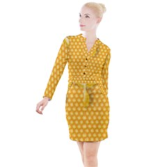 Abstract Honeycomb Background With Realistic Transparent Honey Drop Button Long Sleeve Dress
