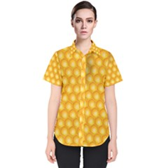 Abstract Honeycomb Background With Realistic Transparent Honey Drop Women s Short Sleeve Shirt by Vaneshart