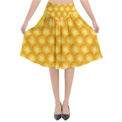 Abstract Honeycomb Background With Realistic Transparent Honey Drop Flared Midi Skirt