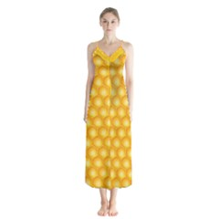 Abstract Honeycomb Background With Realistic Transparent Honey Drop Button Up Chiffon Maxi Dress