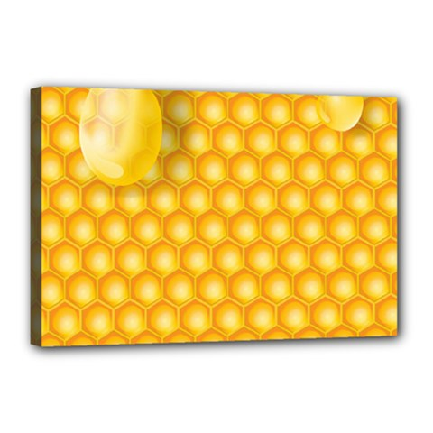 Abstract Honeycomb Background With Realistic Transparent Honey Drop Canvas 18  X 12  (stretched)