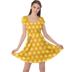 Abstract Honeycomb Background With Realistic Transparent Honey Drop Cap Sleeve Dress