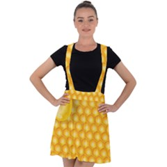 Abstract Honeycomb Background With Realistic Transparent Honey Drop Velvet Suspender Skater Skirt