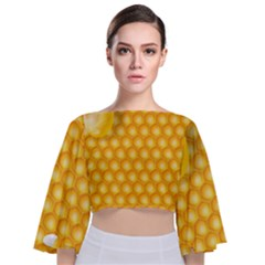 Abstract Honeycomb Background With Realistic Transparent Honey Drop Tie Back Butterfly Sleeve Chiffon Top
