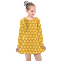 Abstract Honeycomb Background With Realistic Transparent Honey Drop Kids  Long Sleeve Dress