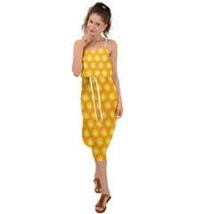 Abstract Honeycomb Background With Realistic Transparent Honey Drop Waist Tie Cover Up Chiffon Dress