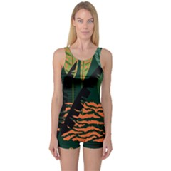 Abstract Seamless Pattern With Tropical Leaves One Piece Boyleg Swimsuit