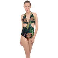 Abstract Seamless Pattern With Tropical Leaves Halter Front Plunge Swimsuit