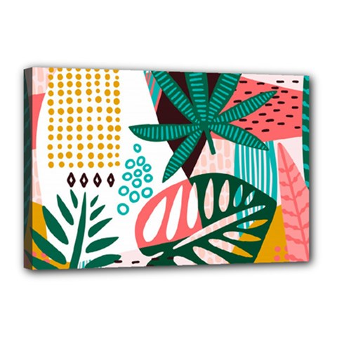 Abstract Seamless Pattern With Tropical Leaves Canvas 18  X 12  (stretched)