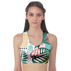 Abstract Seamless Pattern With Tropical Leaves Sports Bra