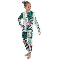 Abstract Seamless Pattern With Tropical Leaves Kids  Long Sleeve Set