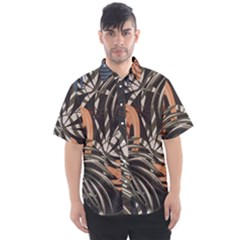 Trend Seamless Pattern With Colorful Tropical Leaves Plants Brown Background Men s Short Sleeve Shirt