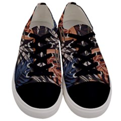 Trend Seamless Pattern With Colorful Tropical Leaves Plants Brown Background Men s Low Top Canvas Sneakers