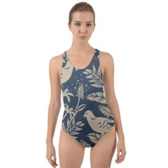 Birds Nature Design Cut-out Back One Piece Swimsuit