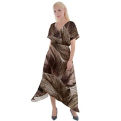 Foliage Circle Card Cross Front Sharkbite Hem Maxi Dress