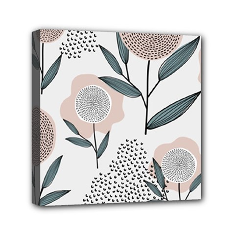 Retro Floral Pattern Mini Canvas 6  X 6  (stretched)