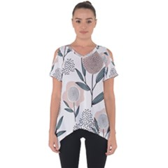 Retro Floral Pattern Cut Out Side Drop Tee