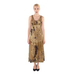 Abstract Grunge Camouflage Background Sleeveless Maxi Dress