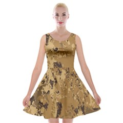 Abstract Grunge Camouflage Background Velvet Skater Dress