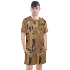 Abstract Grunge Camouflage Background Men s Mesh Tee And Shorts Set