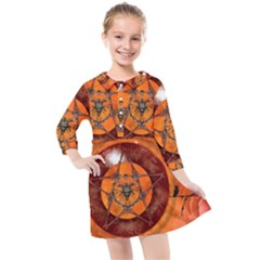Awesome Skull On A Pentagram With Crows Kids  Quarter Sleeve Shirt Dress by FantasyWorld7