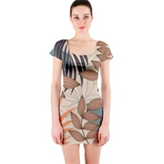 Trend Abstract Seamless Pattern With Colorful Tropical Leaves Plants Beige Short Sleeve Bodycon Dress by Vaneshart
