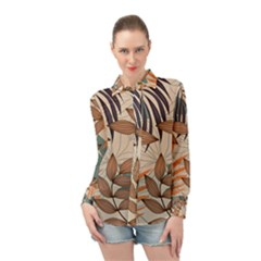 Trend Abstract Seamless Pattern With Colorful Tropical Leaves Plants Beige Long Sleeve Chiffon Shirt by Vaneshart
